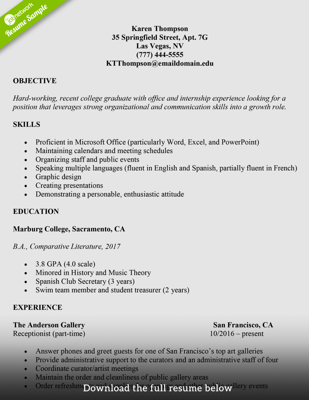 College Graduate Resume Template Fresh How to Write A College Student Resume with Examples