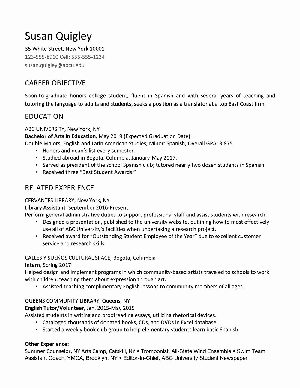College Graduate Resume Template Inspirational Job Resume for Fresh Graduate College
