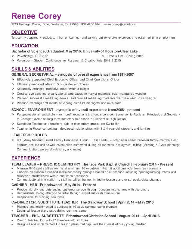 College Graduate Resume Template New Recent College Graduate In Psychology Resume