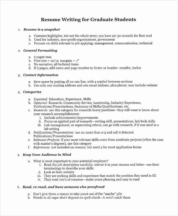 College Graduate Resume Template New Sample College Graduate Resume 8 Free Documents