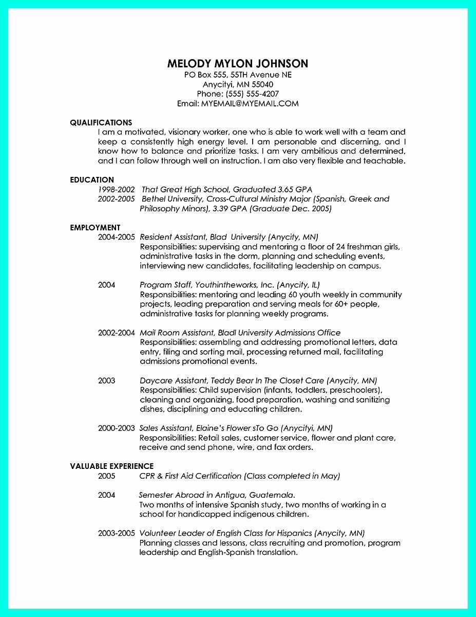 College Graduate Resume Template Unique Cool Sample Of College Graduate Resume with No Experience
