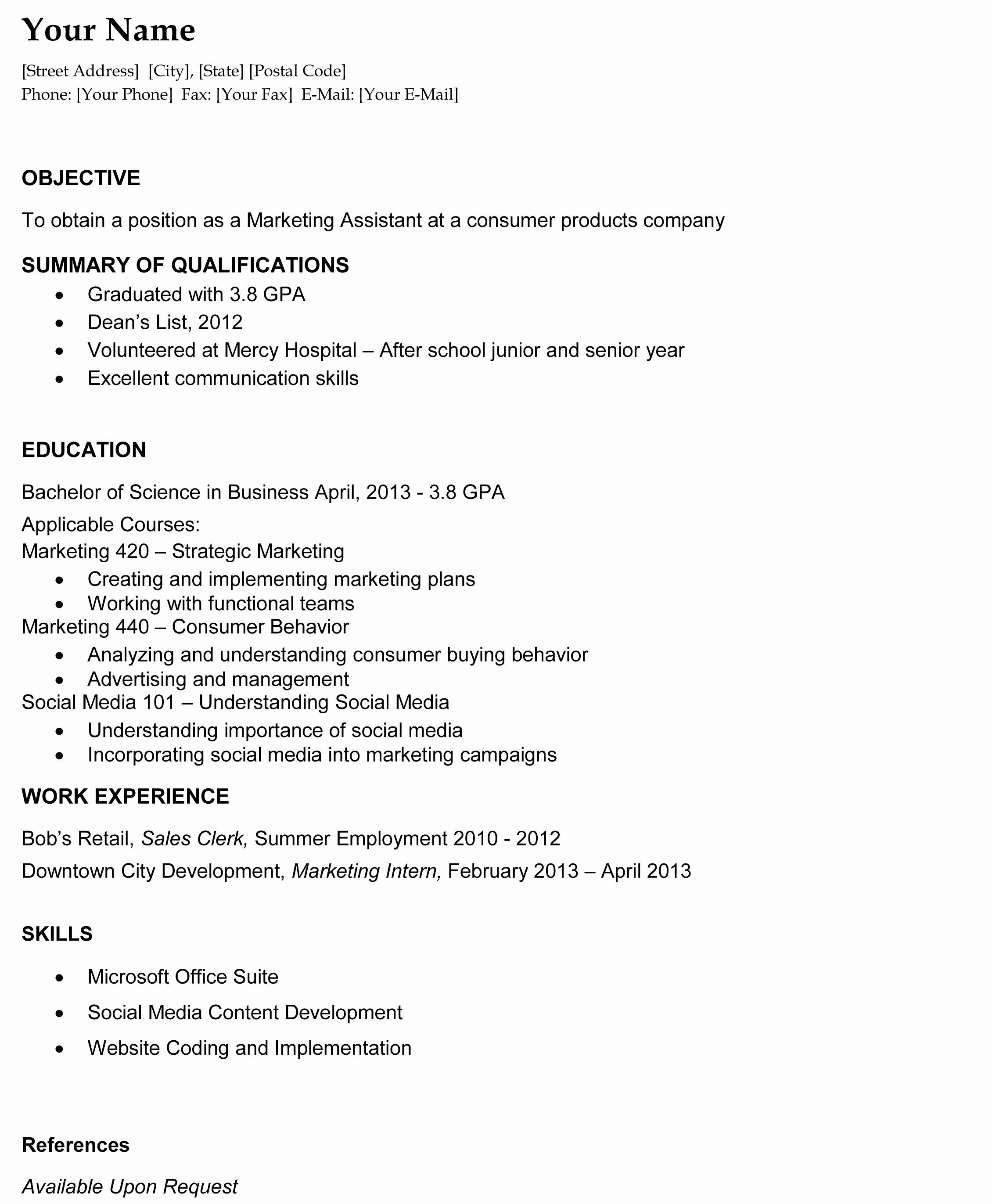 College Graduate Resume Template Unique Resume format Resume Templates University