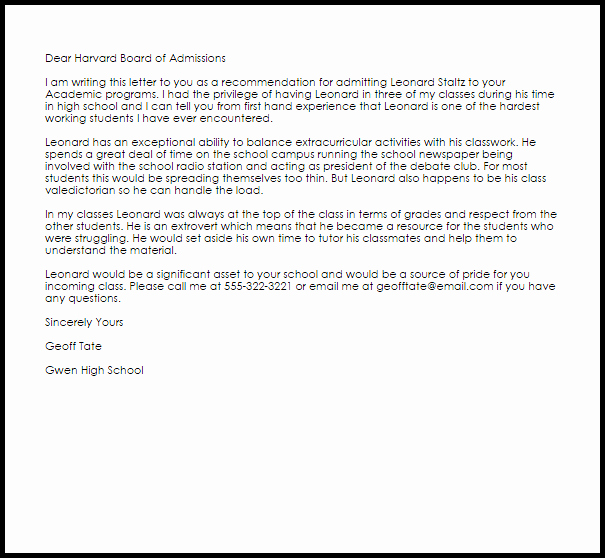 College Recommendation Letter Template Best Of Academic Re Mendation Letter Example