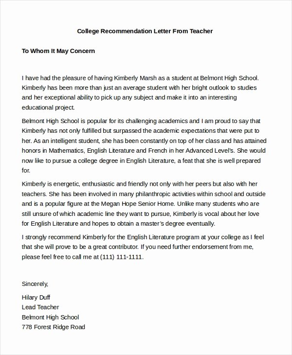 College Recommendation Letter Template Best Of Free 7 Sample Teacher Re Mendation Letters In Pdf