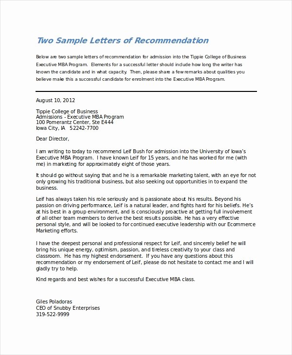 College Recommendation Letter Template Inspirational 6 College Reference Letter Templates Free Sample