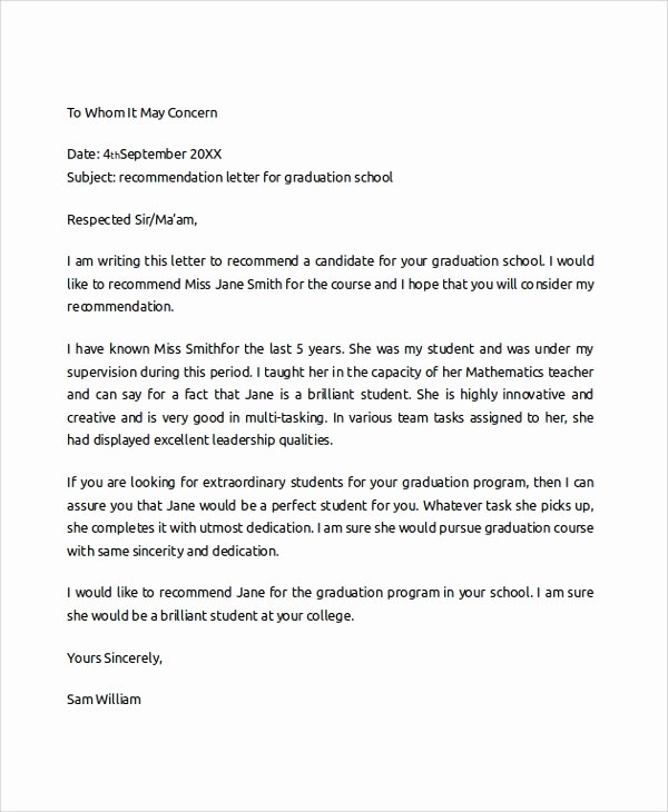 College Recommendation Letter Template Inspirational Sample College Re Mendation Letter 6 Documents In Pdf