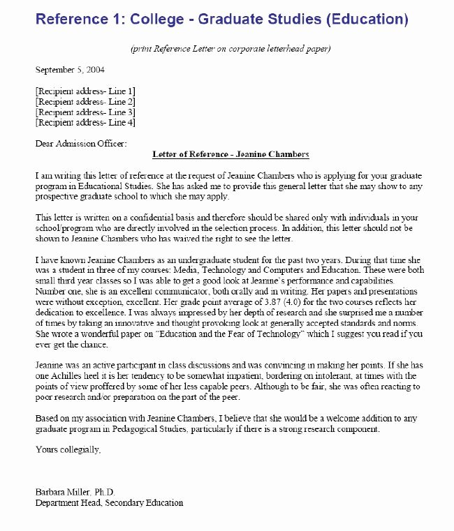 College Recommendation Letter Template New College Re Mendation Letter