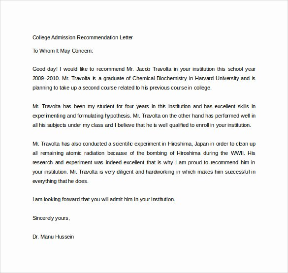 College Recommendation Letter Template New Free 20 College Re Mendation Letters In Pdf