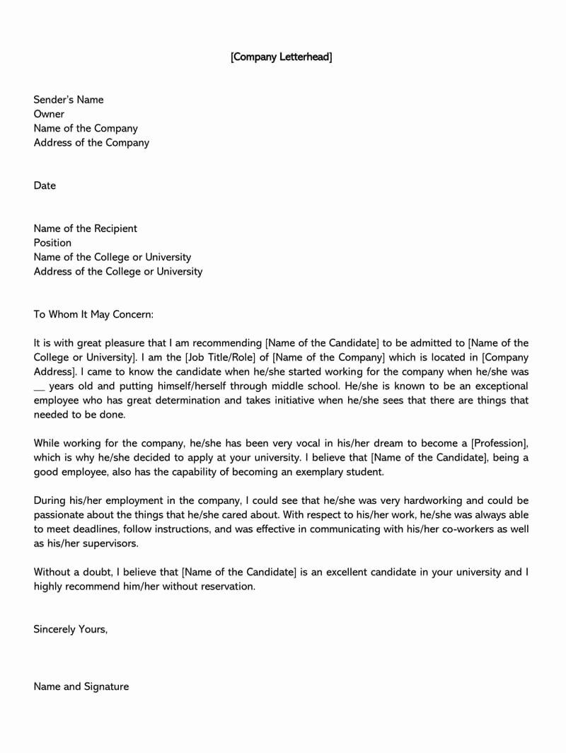 College Recommendation Letter Template Unique College Re Mendation Letter 10 Sample Letters & Free