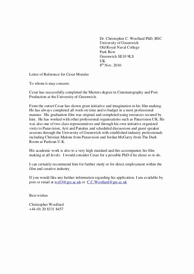 College Recommendation Letter Template Unique Greenwich Reference Letter