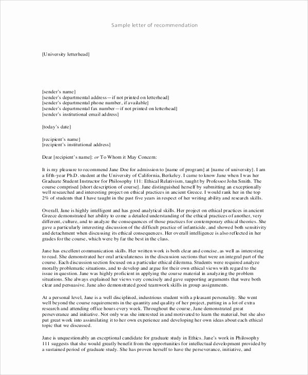 College Reference Letter Template Awesome Sample College Re Mendation Letter 7 Examples In Word