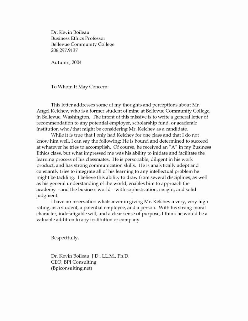 College Reference Letter Template Elegant Sample Re Mendation Letters