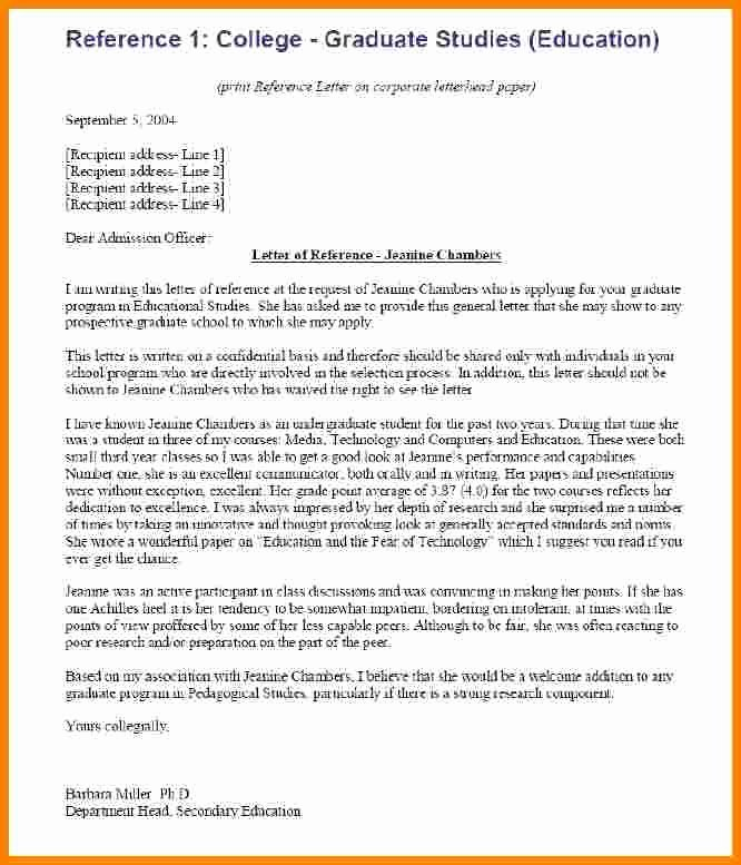 College Reference Letter Template Lovely 7 College Re Mendation Letter Examples