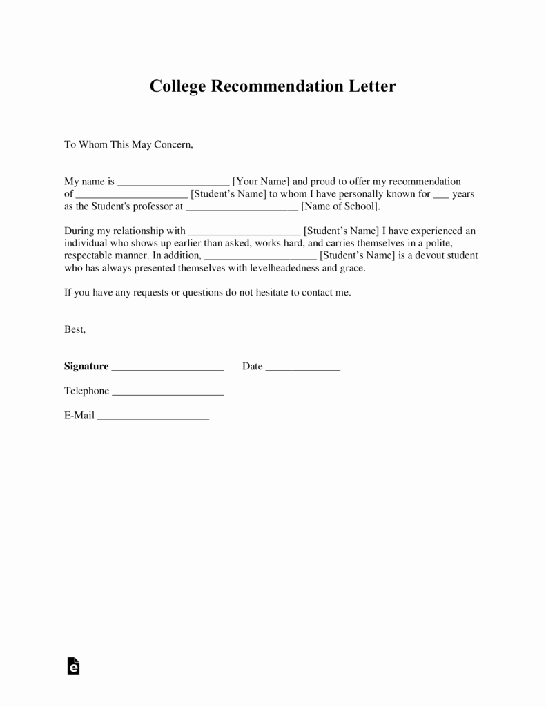 College Reference Letter Template Lovely Free College Re Mendation Letter Template with Samples