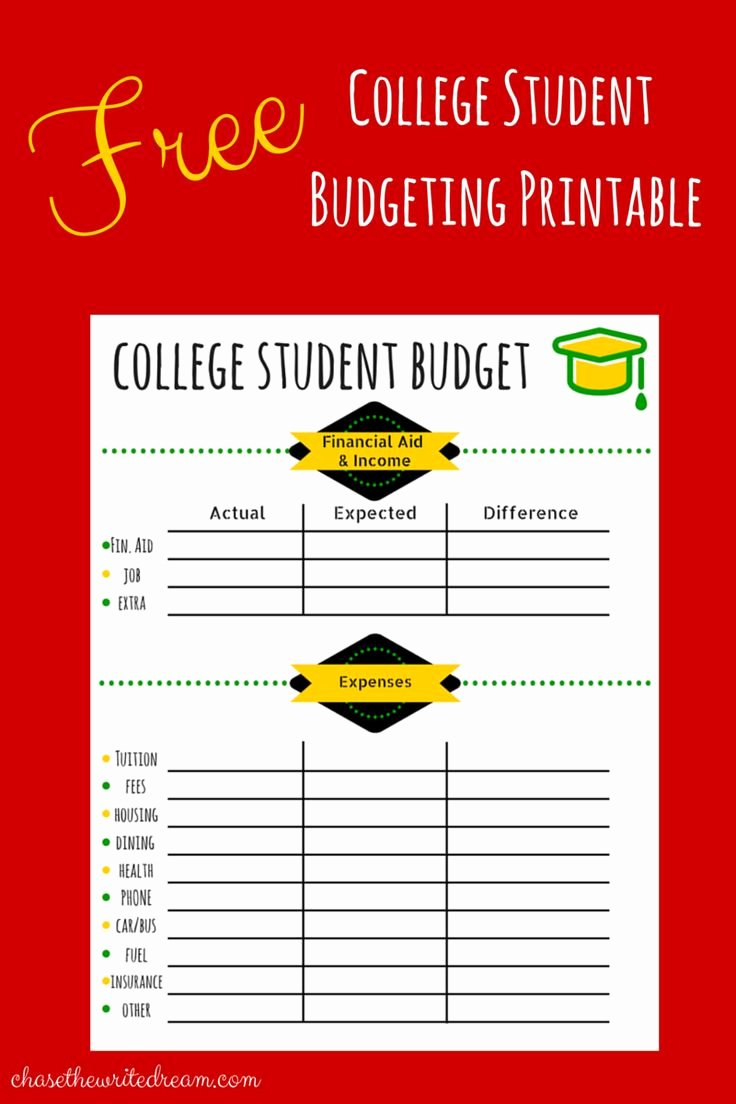 College Student Budget Template Beautiful College Bud Template Free Printable for Students