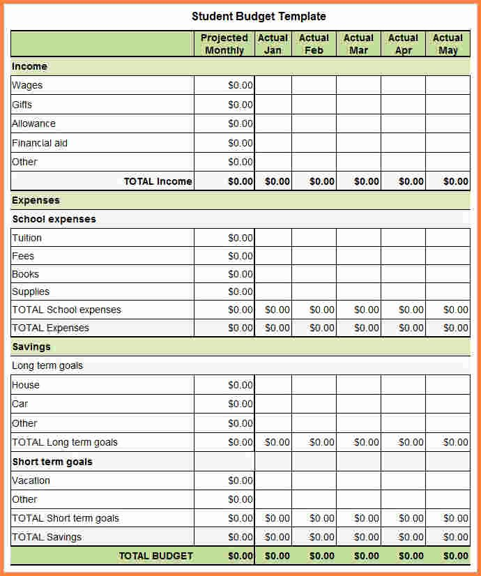 College Student Budget Template Best Of 7 Student Bud Spreadsheet