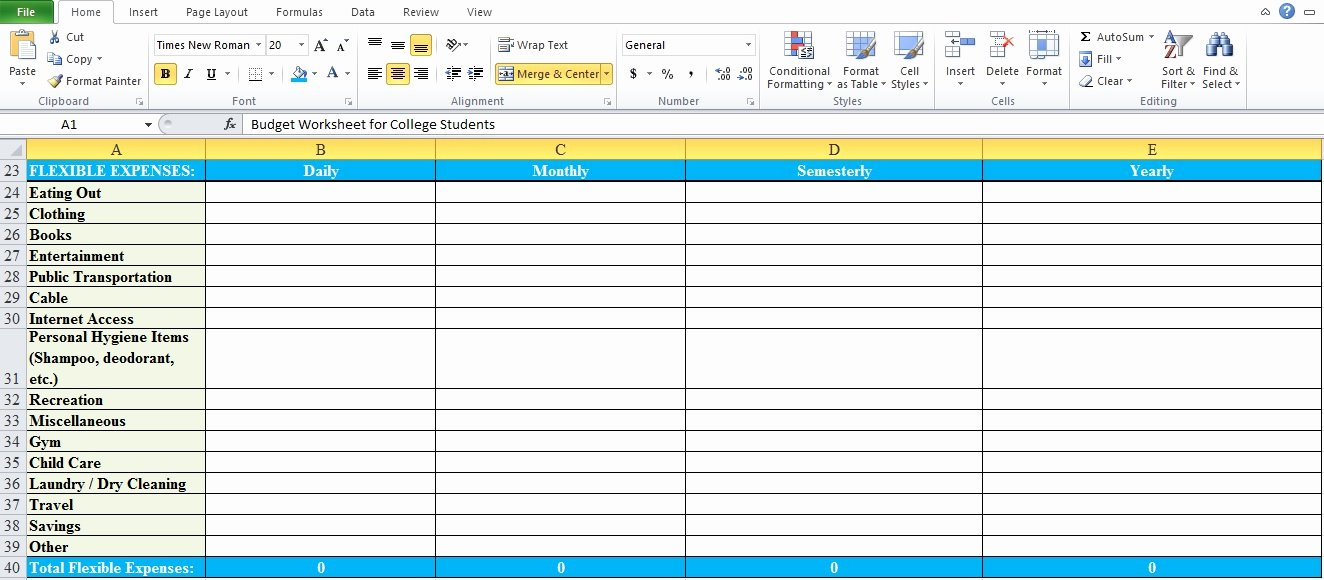College Student Budget Template Inspirational Bud Worksheet for College Students Excel Tmp
