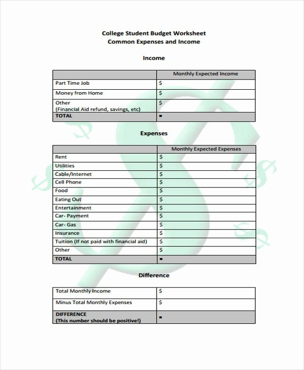 College Student Budget Template Unique Bud Worksheet for Students – Emmamcintyrephotography