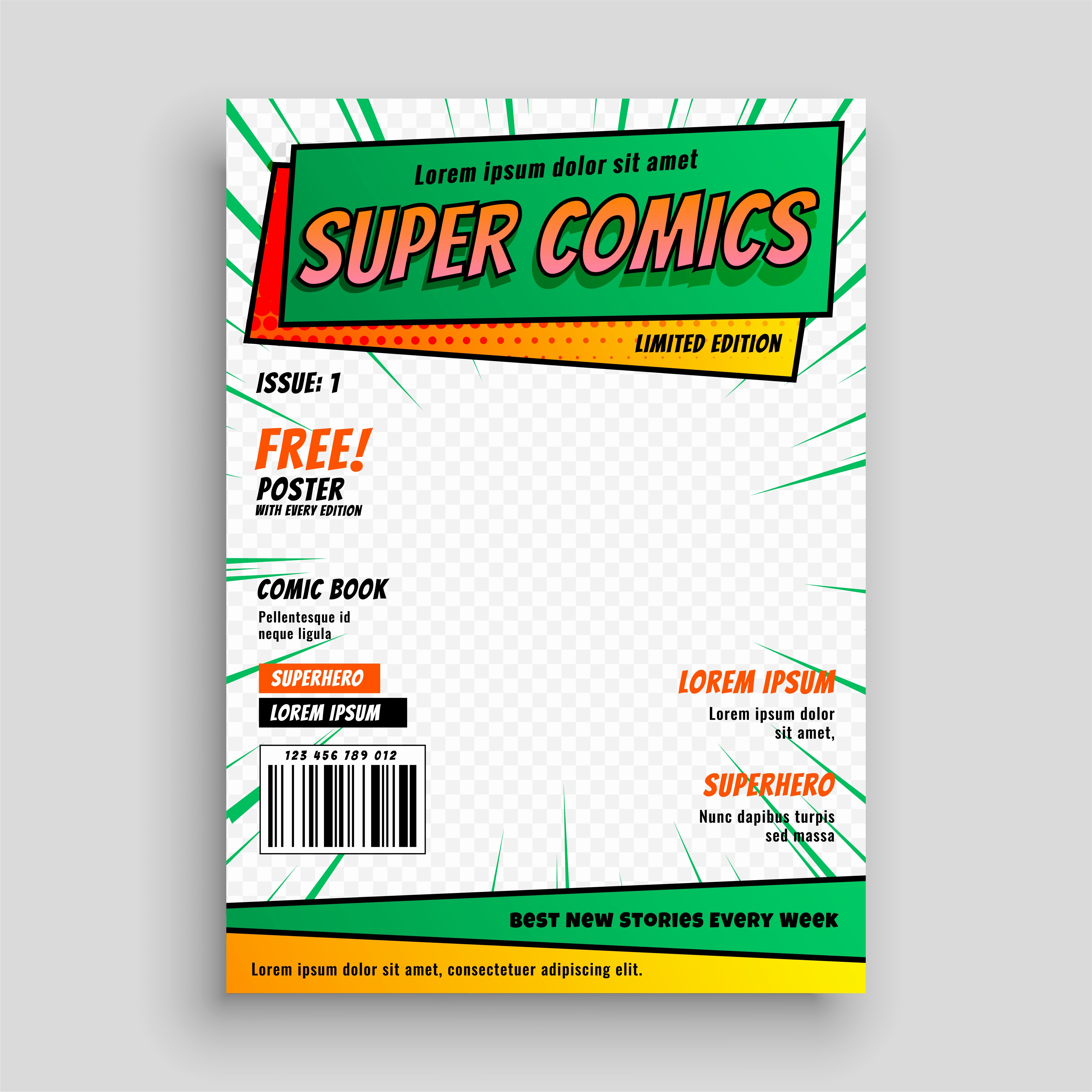 Comic Book Cover Template Beautiful Ic Book Cover Layout Template Download Free Vector