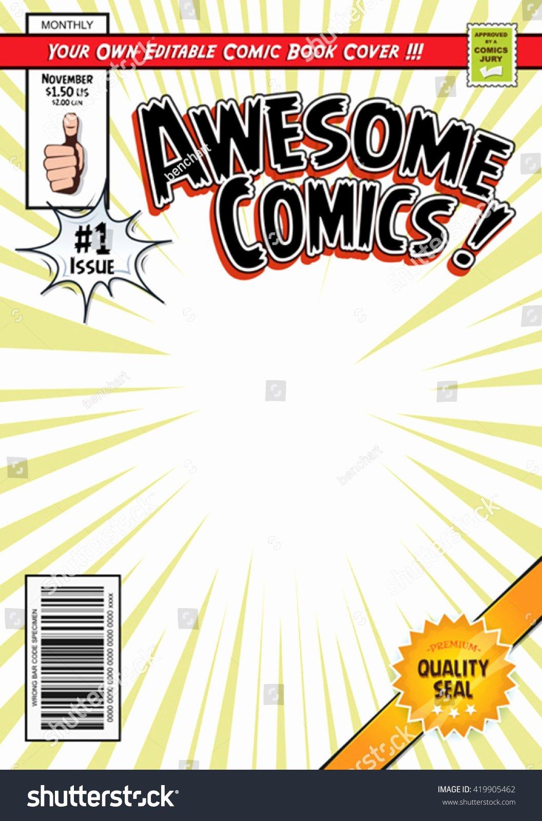 Comic Book Cover Template Elegant Ic Book Cover Template Illustration Cartoon Editable