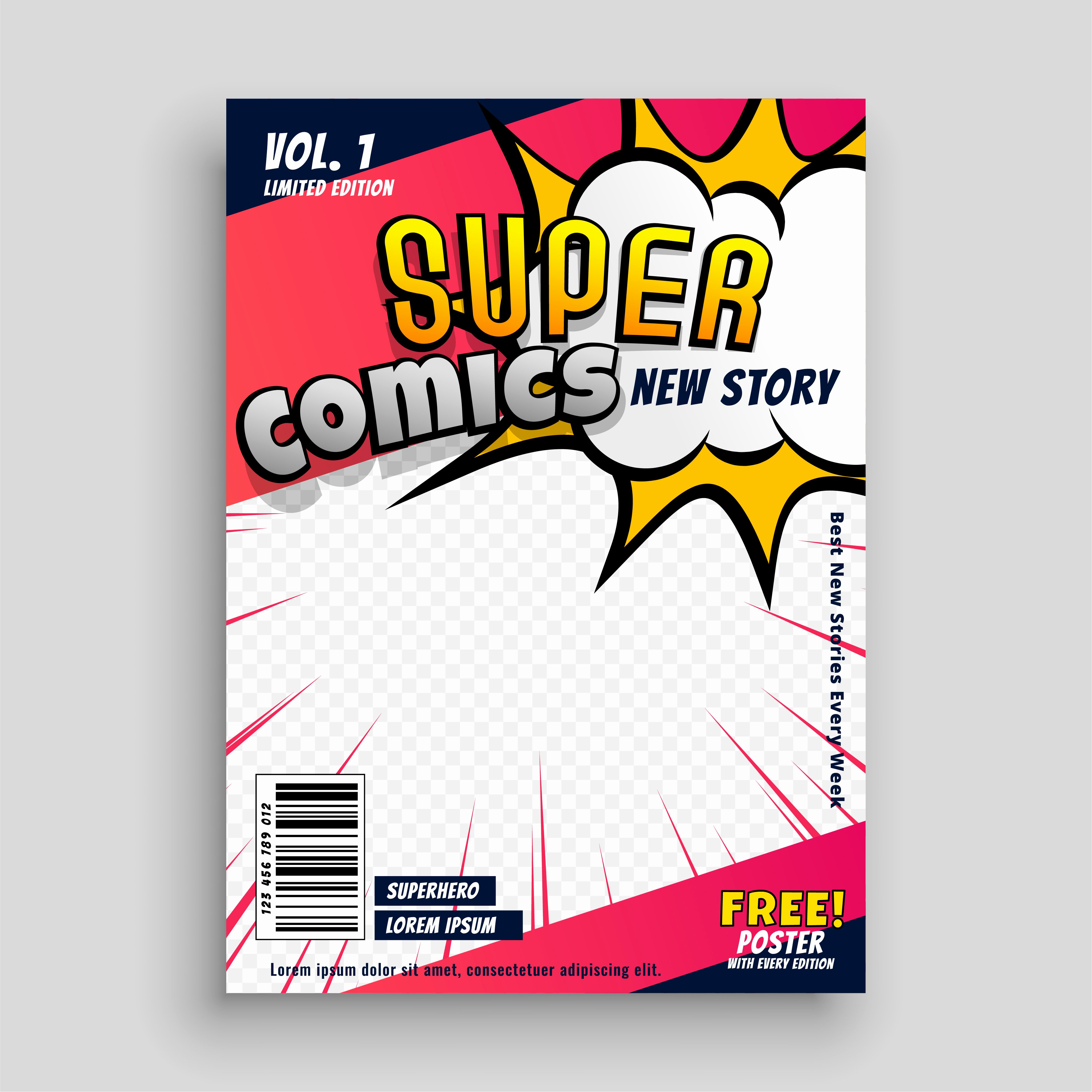 Comic Book Cover Template Lovely Ic Book Cover Design Template Download Free Vector