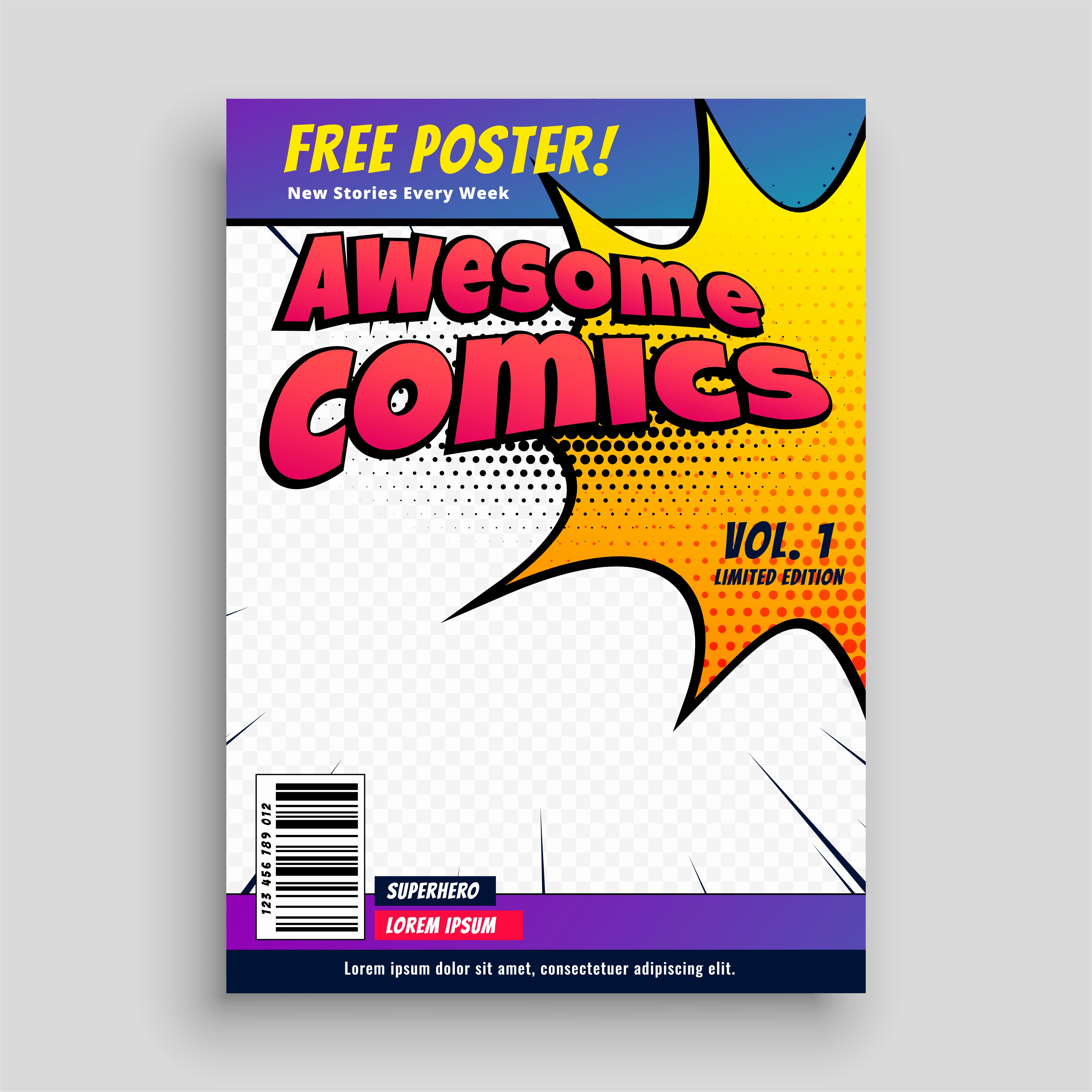Comic Book Cover Template Lovely Ic Book Cover Magazine Design Template Download Free