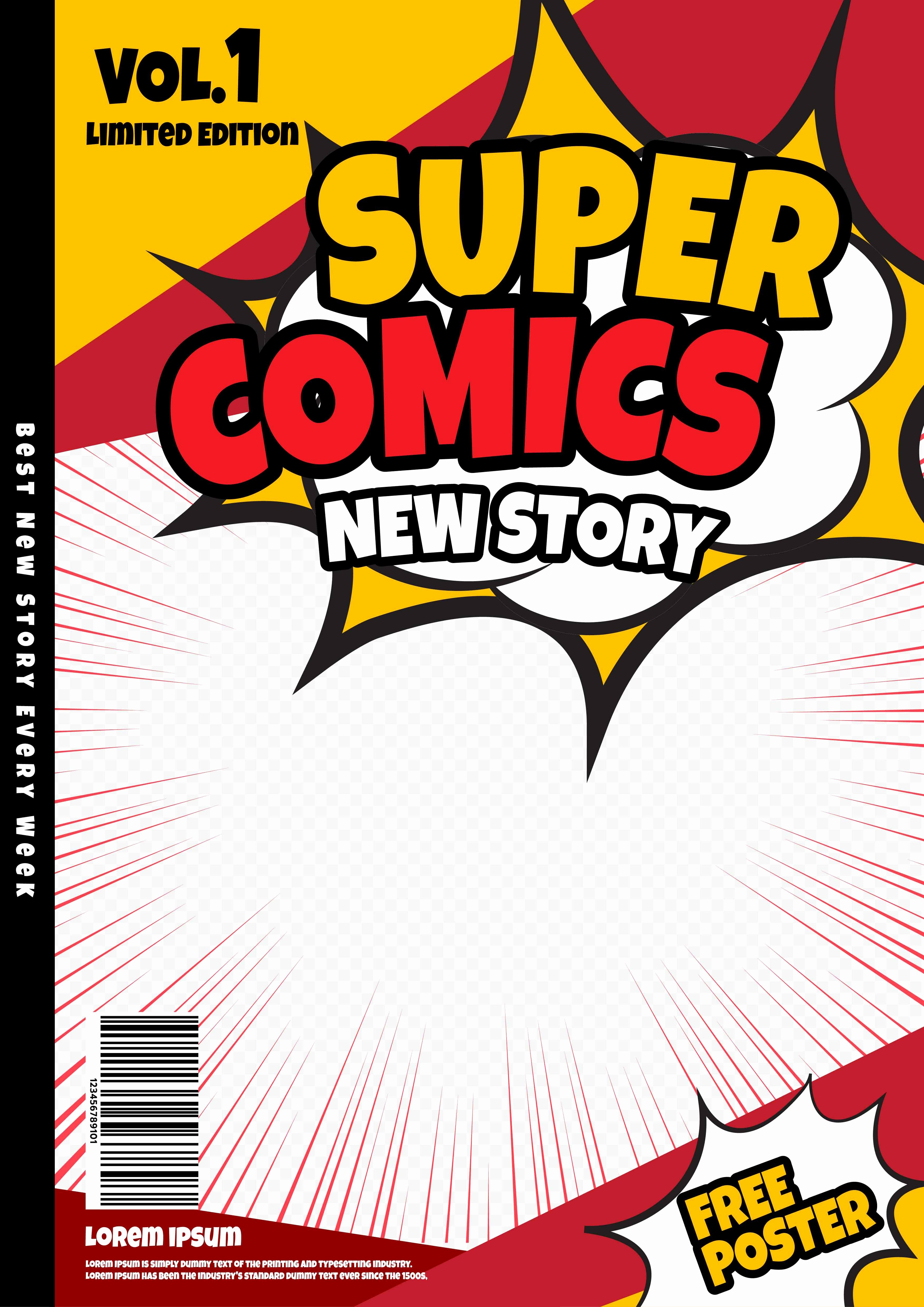 Comic Book Cover Template Lovely Ic Book Page Template Design Magazine Cover Vector