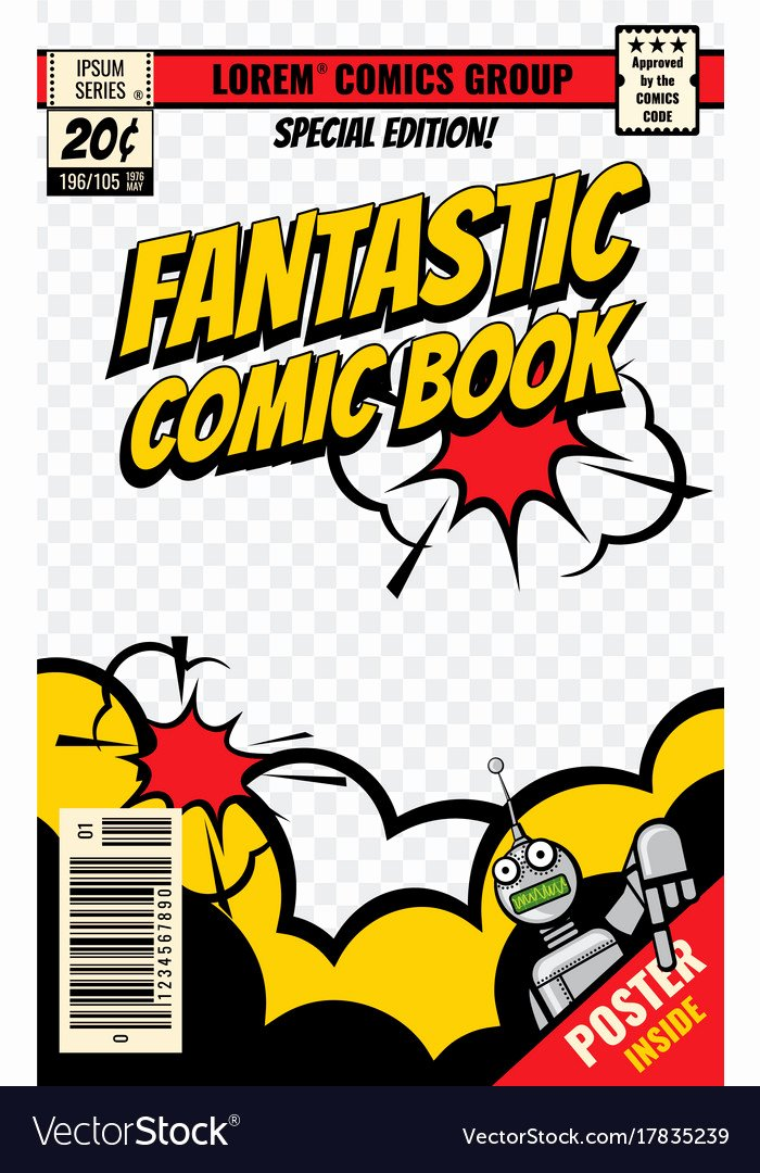 Comic Book Cover Template New Ic Book Cover Template Royalty Free Vector Image