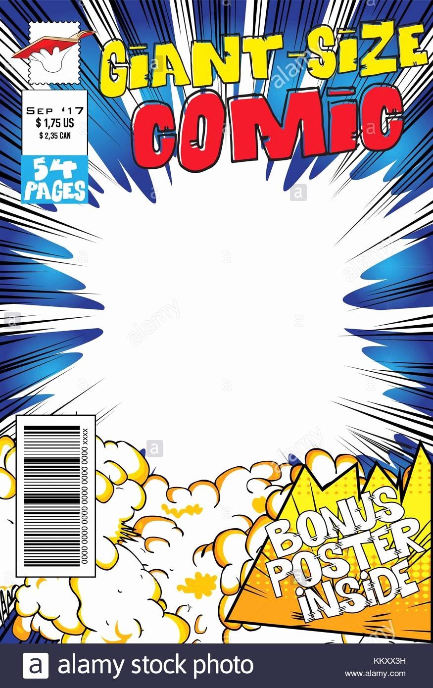 Comic Book Cover Template Unique Editable Ic Book Cover with Blank Explosion Background