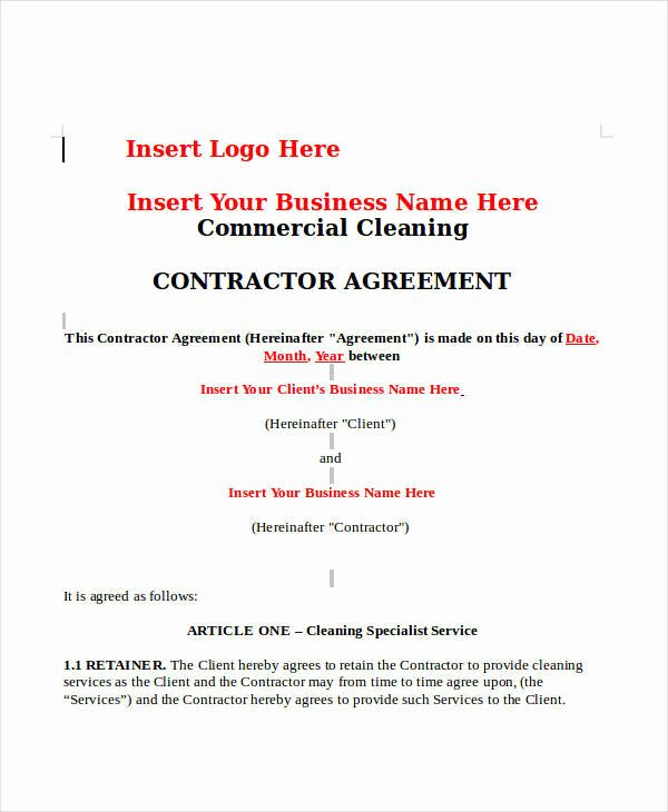 Commercial Cleaning Contract Template Fresh 12 Cleaning Contract Templates Docs Word Pages