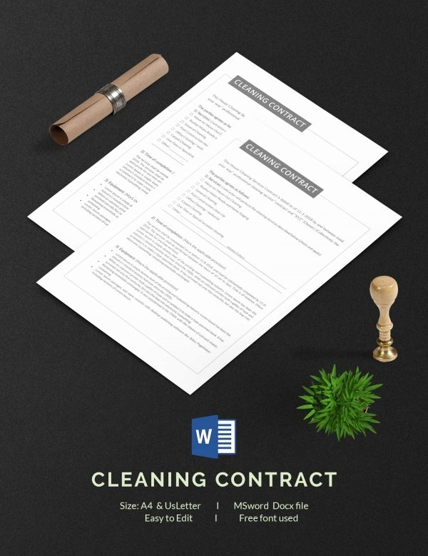 Commercial Cleaning Contract Template Inspirational Cleaning Contract Template 27 Word Pdf Documents