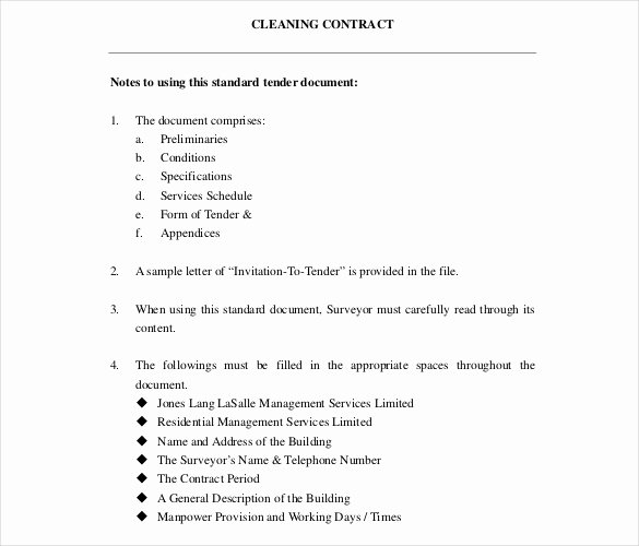 Commercial Cleaning Contract Template Inspirational Cleaning Contract Template