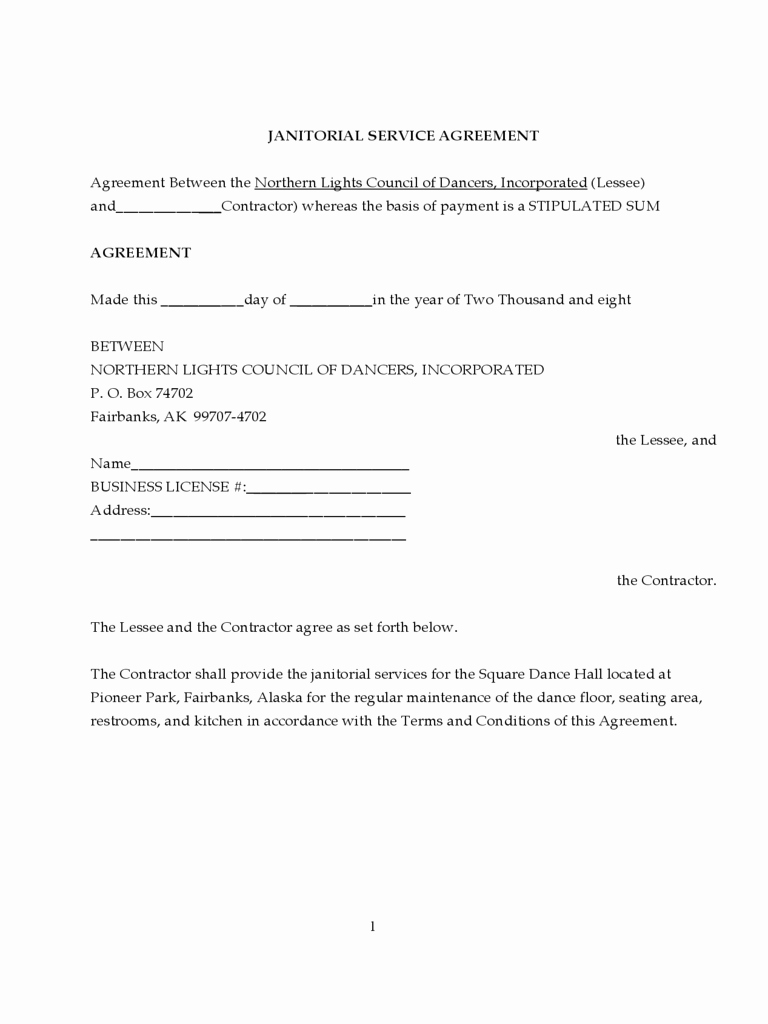 Commercial Cleaning Contract Template New Janitorial Contract Template 2 Free Templates In Pdf