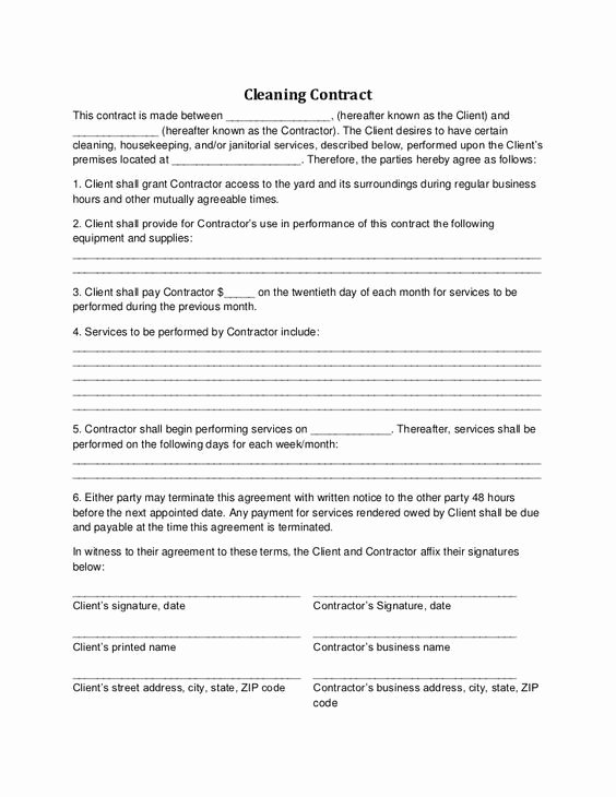 Commercial Cleaning Contract Template Unique Cleaning Contract Cleaning Contract Agreement