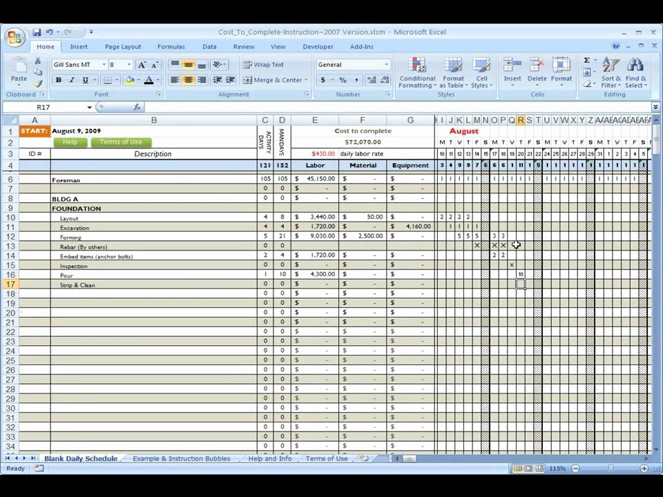 Commercial Construction Schedule Template Best Of Construction Cost to Plete Using Excel