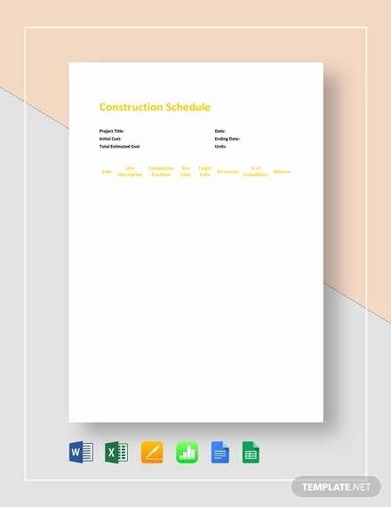 Commercial Construction Schedule Template Lovely Sample Construction Schedule Template 13 Free Documents