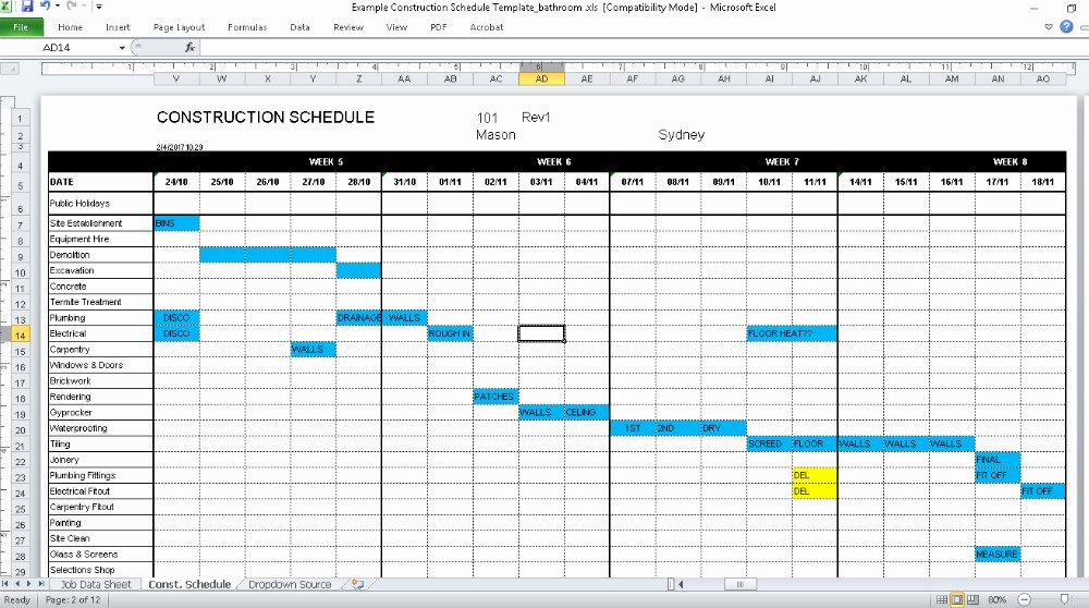 Commercial Construction Schedule Template Luxury Construction Schedule Template