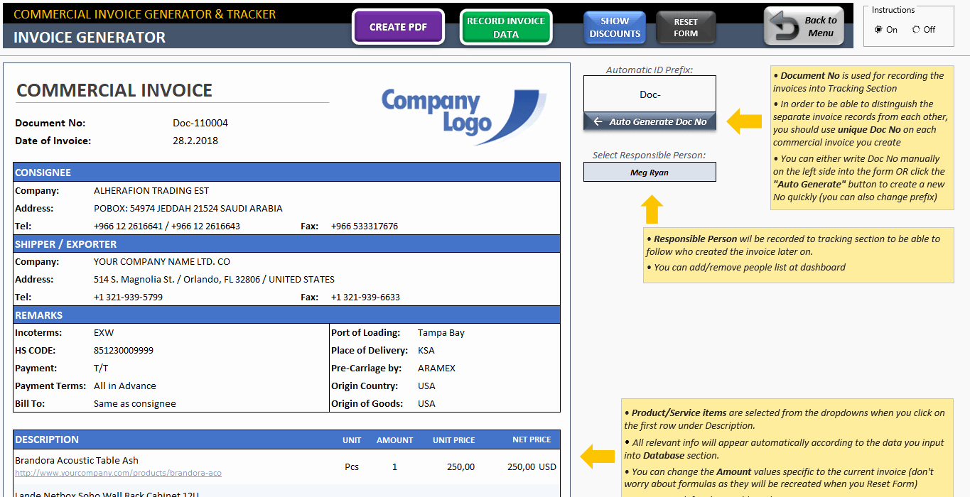 Commercial Invoice Template Excel Elegant Mercial Invoice Template Excel Invoice Generator