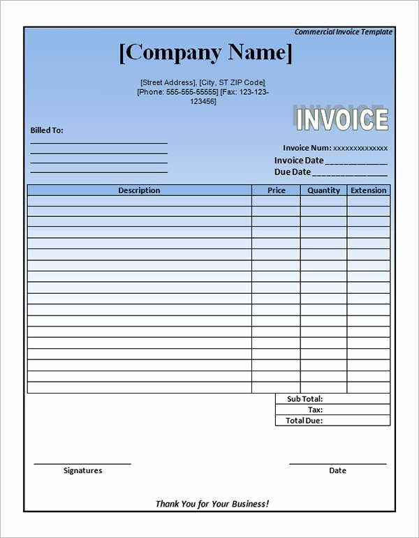 Commercial Invoice Template Excel Fresh Free 18 Free Mercial Invoice Templates In Google Docs