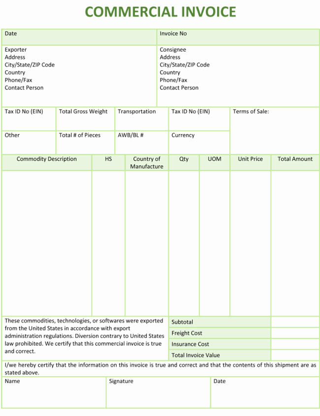 Commercial Invoice Template Excel New 5 Mercial Invoice Templates to Stay Professional