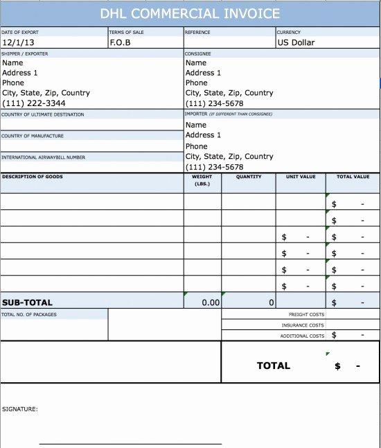 Commercial Invoice Template Excel New Dhl Mercial Invoice Template