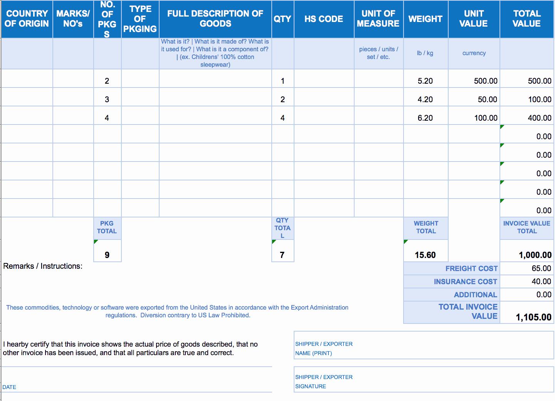 Commercial Invoice Template Excel Unique Free Excel Invoice Templates Smartsheet