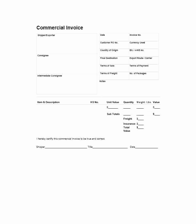 Commercial Invoice Template Word Lovely 44 Blank Mercial Invoice Templates [pdf Word