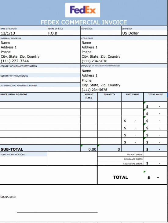Commercial Invoice Template Word Lovely Mercial Invoice Template Excel
