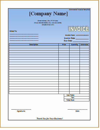 Commercial Invoice Template Word New Mercial Invoice Template – Excel Word Templates