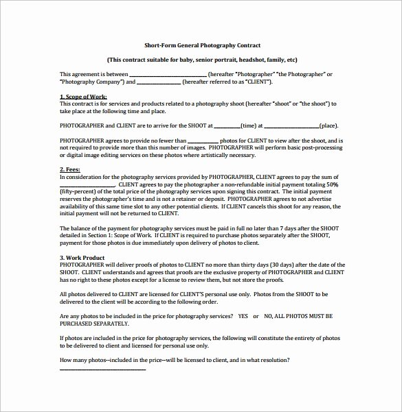 Commercial Photography Contract Template Awesome Free 12 Graphy Contract Templates In Pdf Word
