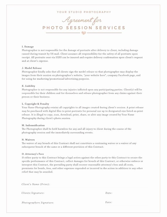 Commercial Photography Contract Template Awesome Session Contract Template for Grapher Graphy