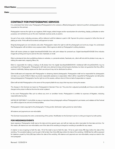 Commercial Photography Contract Template Fresh Graphy Contract Template Free Download Create Edit
