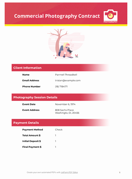 mercial photography contract template