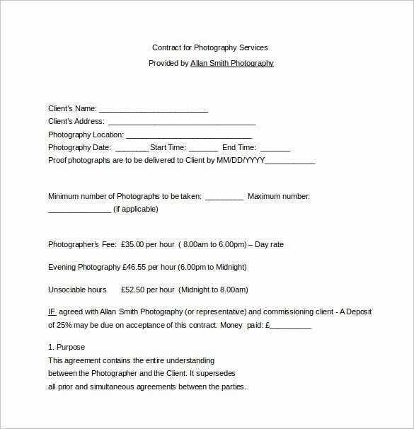 Commercial Photography Contract Template Luxury Contract for Graphy Services Word Free Download